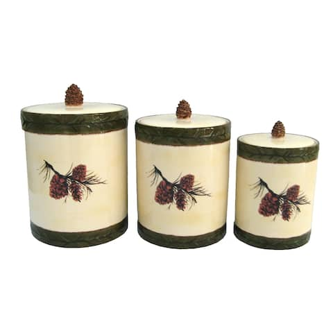 HiEnd Accents Ceramic Pine Cone Canister (Set of 3)
