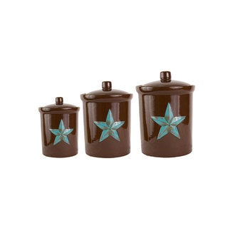HiEnd Accents Turquoise 3-Piece Star Canister