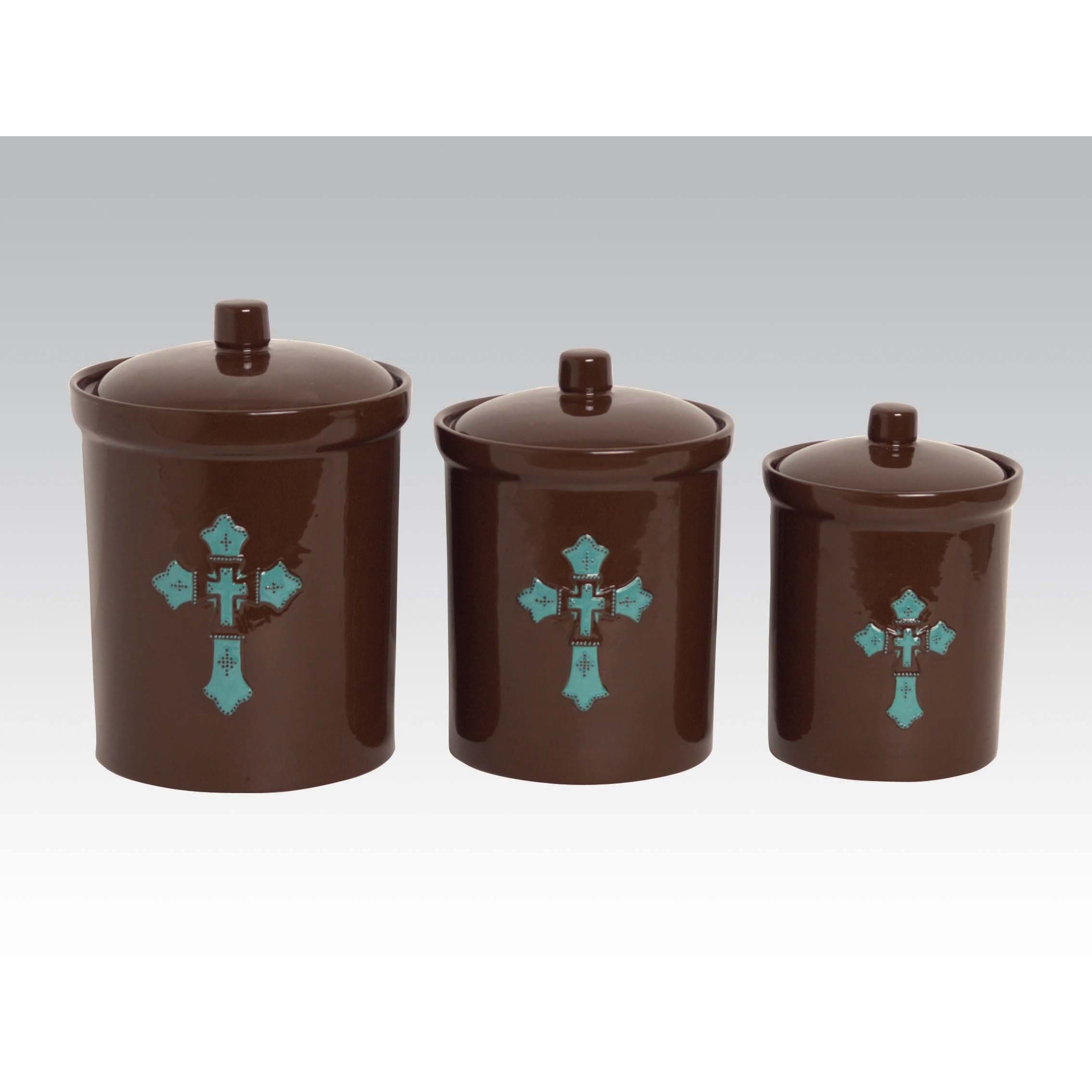 HiEnd Accents Turquoise Cross Accent Brown Ceramic Canist...