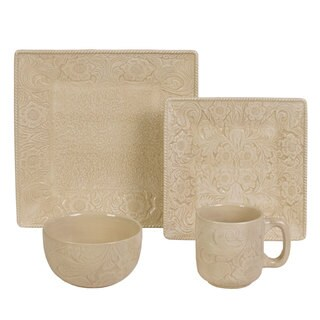HiEnd Accents 16-Piece Savanah Dishes Set Cream