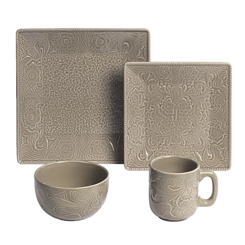 HiEnd Accents 16-Piece Savanah Dishes Set Taupe