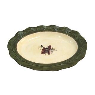 HiEnd Accents Pine Cone Multicolor Ceramic Serving Platter