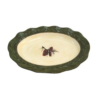 HiEnd Accents Pine Cone Multicolor Ceramic Serving Platter