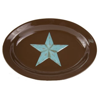 HiEnd Accents Turquoise and Brown Ceramic Star Serving Platter