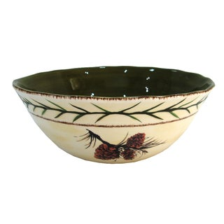 HiEnd Accents Pine Cone Multicolored Ceramic Serving Bowl