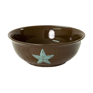 HiEnd Accents Turquoise Star Ceramic Serving Bowl