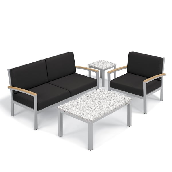 Oxford Garden Travira 4 Piece Seat Lite Core Granite Ash Table Chat Set Natural Tekwood Armcaps Jet Black Cushion Free Shipping Today