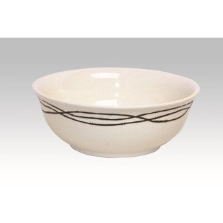 HiEnd Accents Barbwire Cream Ceramic Serving Bowl Cream