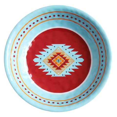 HiEnd Accents Southwest Multicolored Melamine 13.75-inch Diameter Serving Bowl (12-piece case)