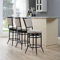 Rachel Black Metal Swivel Counter Stool with White Cushion