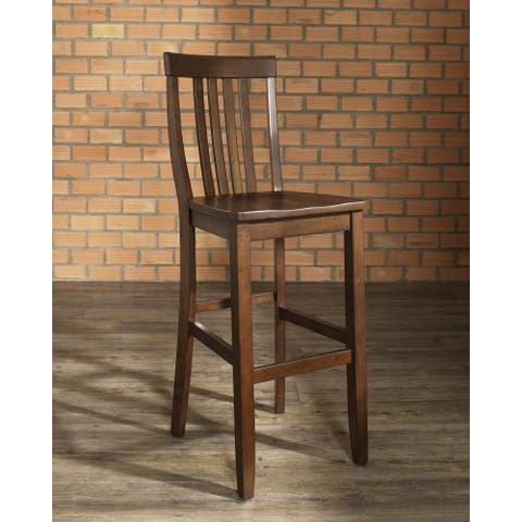 School House Vintage Mahogany Finish Rubberwood Bar Stool with 30-inch Seat Height (Set of 2)