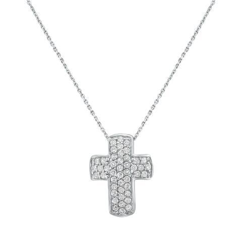 10k White Gold 4/9ct TDW Diamonds Cross Pendant - White H-I