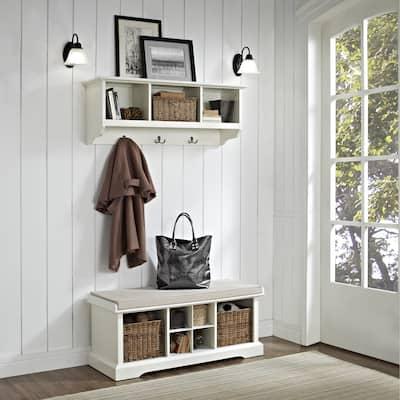 "Brennan 2 Piece Entryway Bench and Shelf Set in White - 41.5""W x 18.25""H x 15""D"