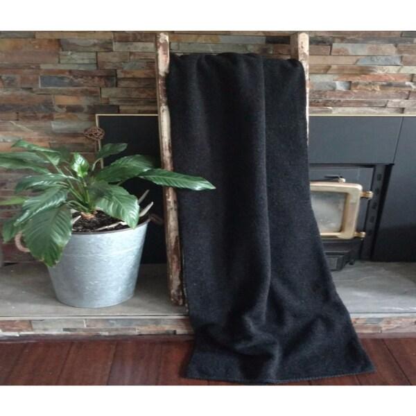 Mazmania Black Looped Wool Throw