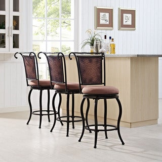 Wingate Black Gold Swivel Counter Stool with Tan Cushion (As Is Item)