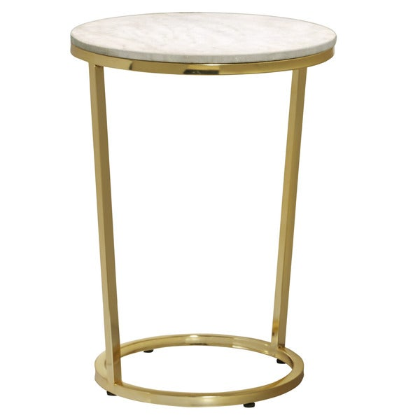 Shop Emory White And Gold Marble Round Accent Table Free Shipping - White marble and metal round accent table