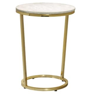 Emory White and Gold Marble Round Accent Table
