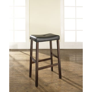 Upholstered Saddle Seat Barstool in Mahogany with 29-inch Seat Height (Set of 2)