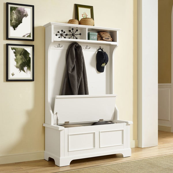 Shop Campbell Hall Tree In White Finish Free Shipping