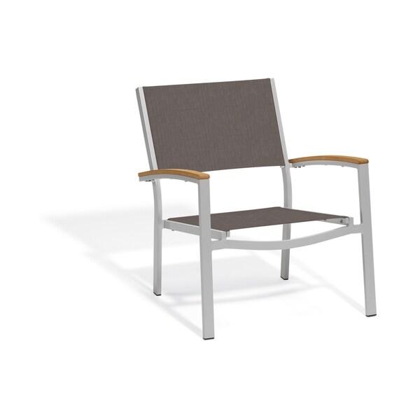 Shop Oxford Garden Travira Chat Chair - Teak Armcaps ... on Safavieh Outdoor Living Granton 5 Pc Living Set id=82173