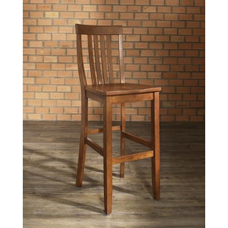School House Bar Stool in Classic Cherry Finish with 30 Inch Seat Height. (Set of Two)