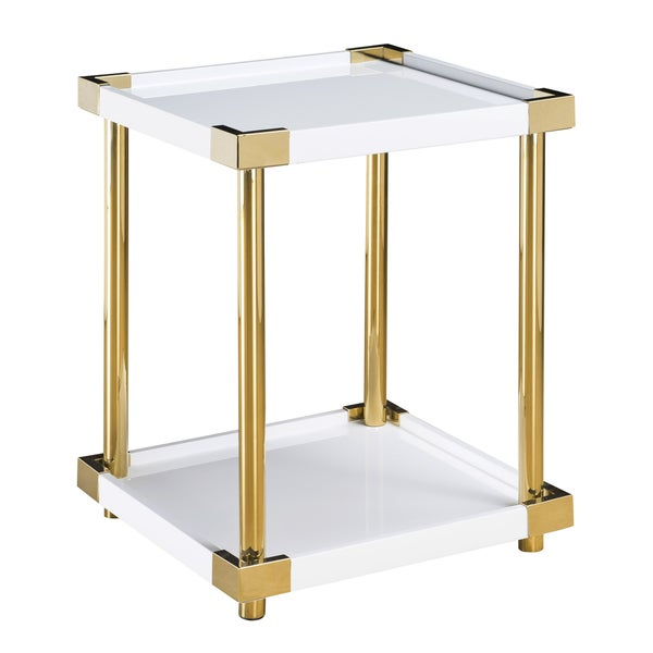 Ariene White Acrylic and Wood Accent Table with Goldtone Metal Legs and Corners