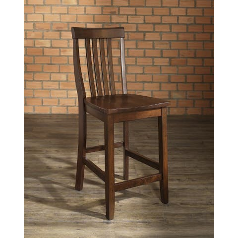 School House Vintage Mahogany Finish Rubberwood Bar Stool with 24-inch Seat Height (Set of 2) - N/A