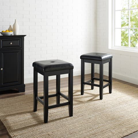 Upholstered Black 24-inch Square Seat Bar Stools (Set of 2) - N/A
