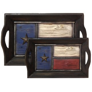 HiEnd Accents Texas Flag Resin 2-piece Tray Set