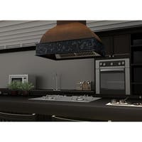 ZLINE 36 in. Wooden Island Mount Range Hood in Walnut - Includes 1200 CFM Motor