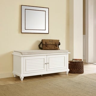 Palmetto Entryway Bench in White Finish