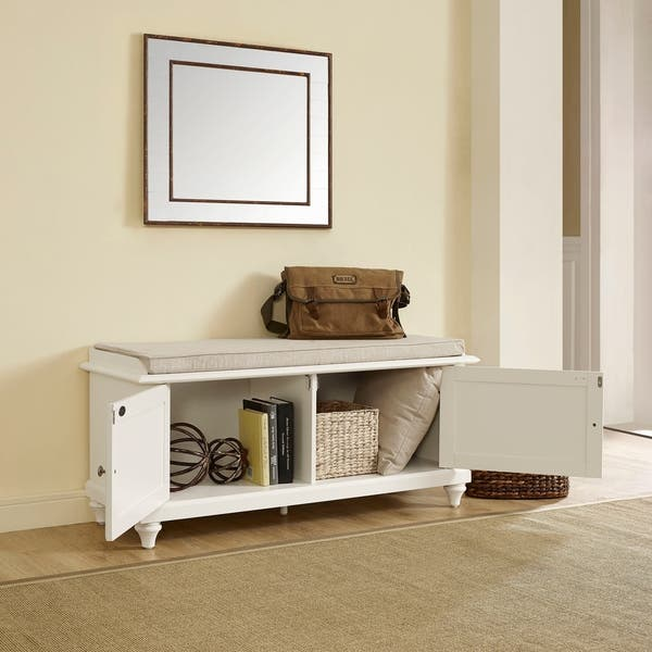 Incredible Shop Palmetto Entryway Bench In White Finish On Sale Pdpeps Interior Chair Design Pdpepsorg