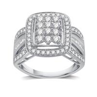 1 CTTW Diamond Square-Shaped Cluster Ring In Sterling Silver (I-J, I2-I3) - White I-J