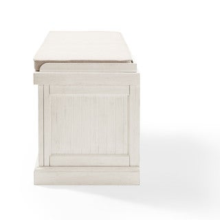 Crosley Seaside Distressed White Finish Wood Entryway Bench