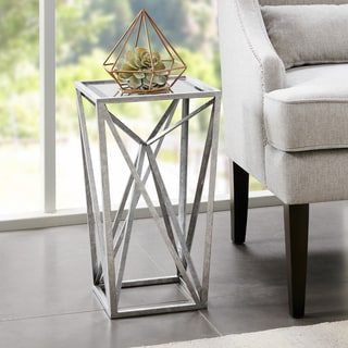 Madison Park Maxx Silver Angular Mirror Accent Table