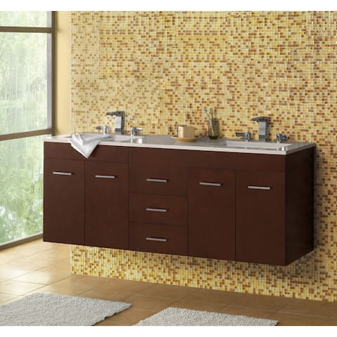 "Ronbow Bella 62"" Double Bathroom Vanity Set with Ceramic Sinks"