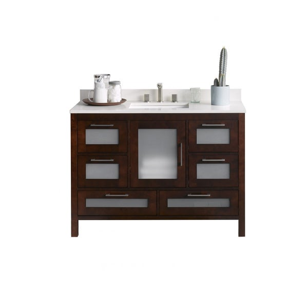 Ronbow Athena Cherry Finish Wood Ceramic 49-inch Bathroom Vanity Set with Sink