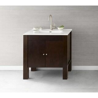 Ronbow Devon Brown Wood 33-inch Bathroom Vanity Set with Ceramic Sinktop
