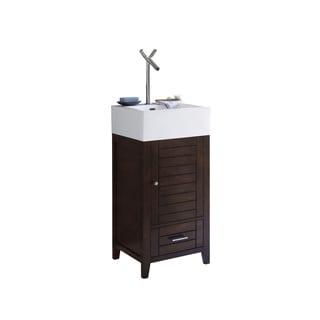 Ronbow Elise Brown Wood and White Ceramic 18-inch Bathroom Vanity, Sink