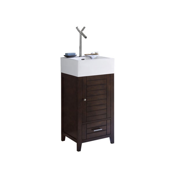 Ronbow Elise Brown Wood And White Ceramic 18 Inch Bathroom Vanity, Sink