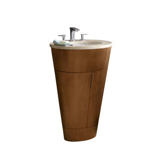 Ronbow Leonie Stained Brown Wood 24-inch Bathroom Vanity Set with Ceramic Sink