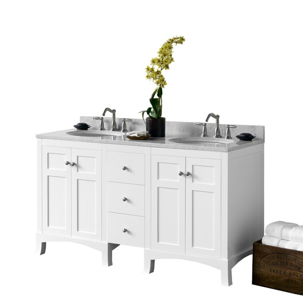 """Ronbow 60"""" Briella Bathroom Vanity Set in White with Ceramic Sinks and Medicine Cabinets"""