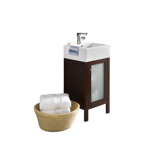 Ronbow Cami Cherry Finish Wooden 18-inch Bathroom Vanity Set With Ceramic Vessel and Mirror