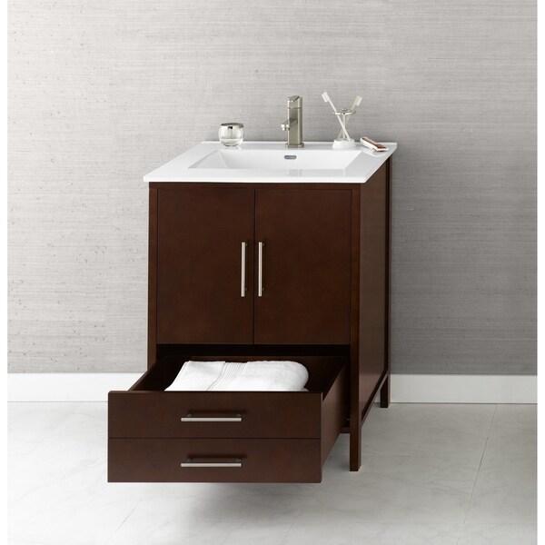 Bon Ronbow Juno Cherry Wood 25 Inch Bathroom Vanity Set With Ceramic Sinktop