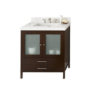 Ronbow Juno Cherry-finished Wood 31-inch Bathroom Vanity Set with Ceramic Sink