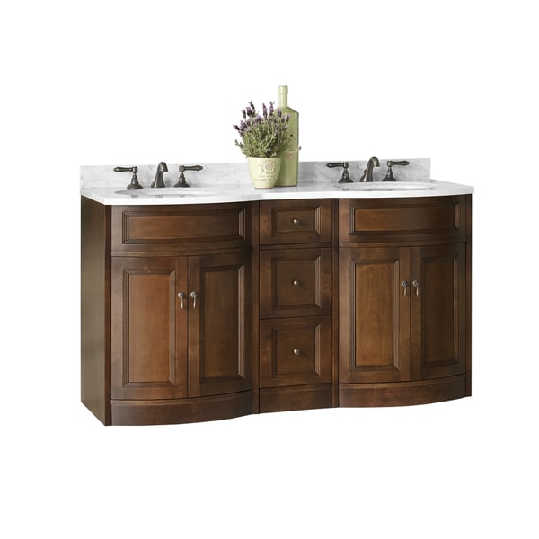 Ronbow Marcello Walnut Finish Wood 61 Inch Double Bathroom Vanity Set With Ce
