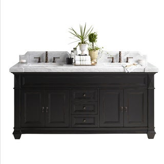 Ronbow Torino Black Wood 74-inch Double Bathroom Vanity Set with Ceramic Sink and Mirror
