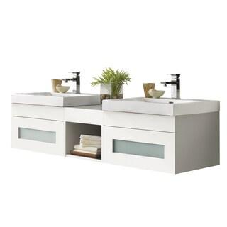 Ronbow Rebecca White Ceramic/ Wood Sinktop And Mirror 62 Inch Bathroom  Vanity Set
