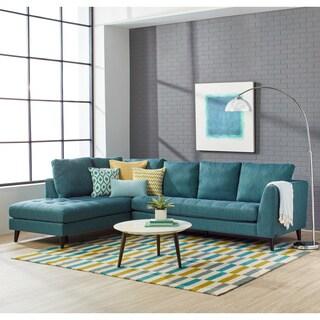 Carson Carrington Geneva Blue Fabric Mid-century Sectional