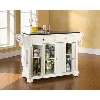 Havenside Home Milbridge Solid Black Granite Top Kitchen Island in White Finish